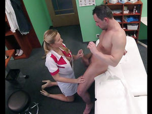 Wondrous nurse blows a patient, CFNM..
